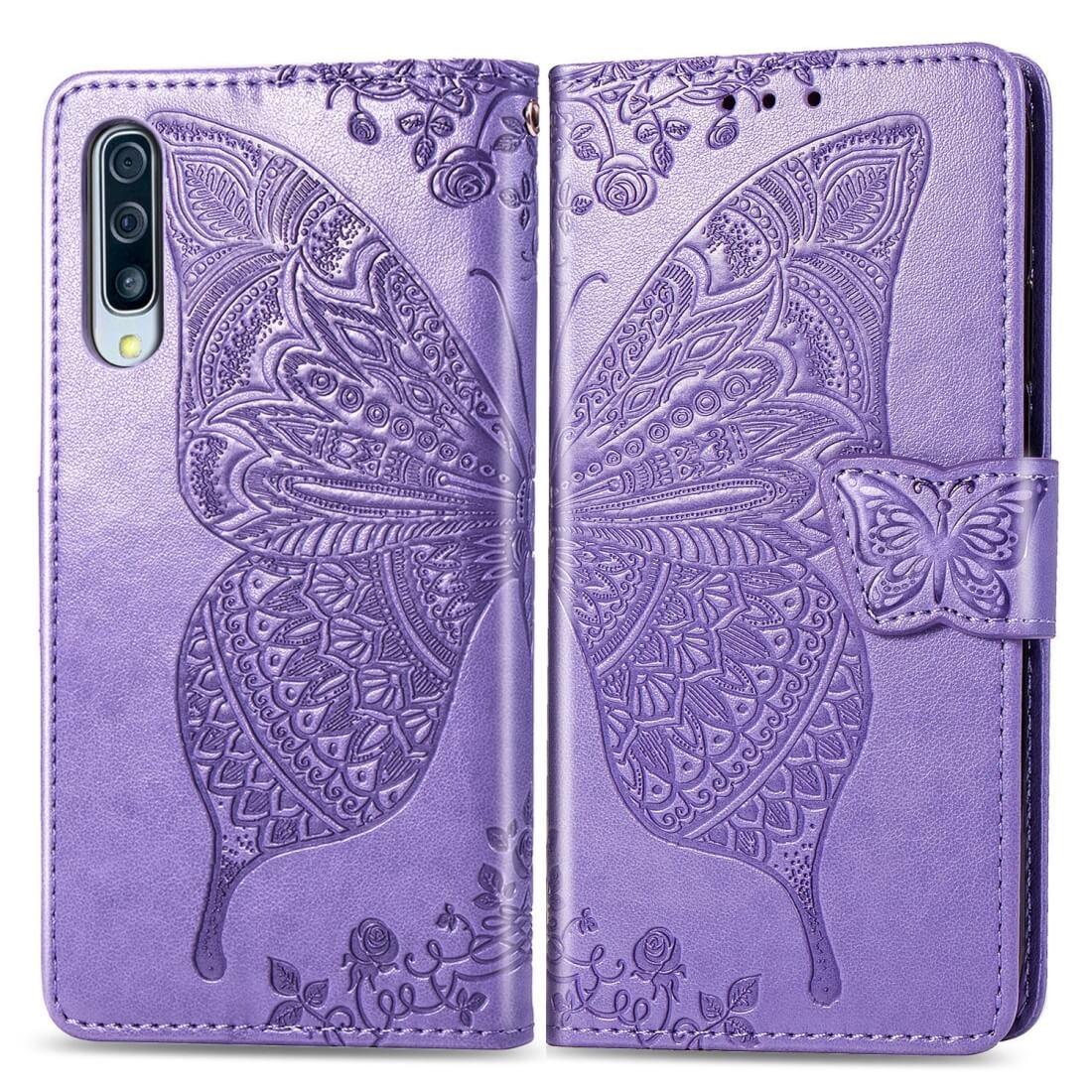 FORCELL ART Peňaženkový obal Samsung Galaxy A70 BUTTERFLY fialový