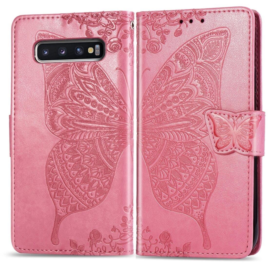FORCELL ART Peňaženkový obal Samsung Galaxy S10 Plus BUTTERFLY růžový