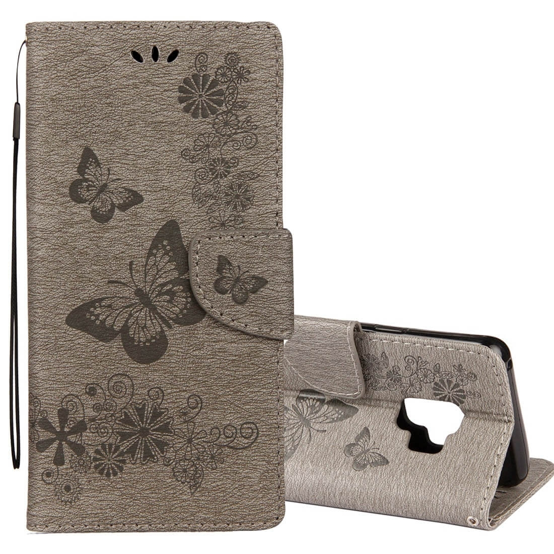 FORCELL ART Peňaženkový obal Samsung Galaxy S9 Butterfly šedý