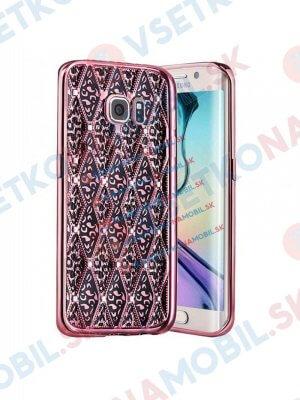 GLAMOUR Gumový vzorovaný kryt Samsung Galaxy S7 Edge růžový