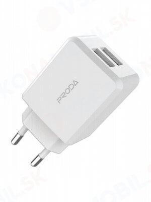 PRODA Linshu PRO Síťová nabíječka 2x USB bílá