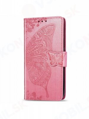 ART Peňaženkový kryt Motorola Moto One Action BUTTERFLY růžový