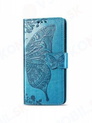 ART Peňaženkový kryt Motorola Moto One Action BUTTERFLY modrý