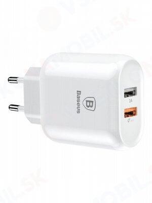 BASEUS Síťová nabíječka (2X USB) QuickCharge 3.0 bílá