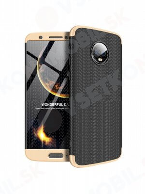 360 ° Ochranný obal Motorola Moto G6 černý (zlatý)