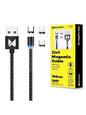 WOZINSKY 3v1 Magnetický kabel (USB Typ-C / micro USB / Lightning) 1m černý