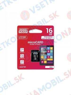 Paměťová karta GOODRAM microSDHC 16GB UHS-I + adaptér (M1AA-0160R11)