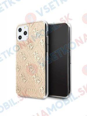 GUESS 4G Silikonový obal Apple iPhone 11 Pro zlatý