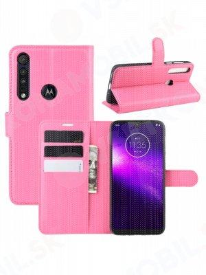 LITCHI Peňaženkové puzdro Motorola One Macro / Motorola G8 Play ružové