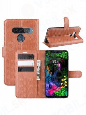 Litchi Peňaženkové pouzdro LG G8s ThinQ hnědé