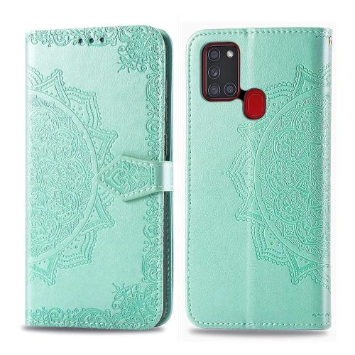 FORCELL ART Peňaženkový kryt Samsung Galaxy A21s ORNAMENT zelený