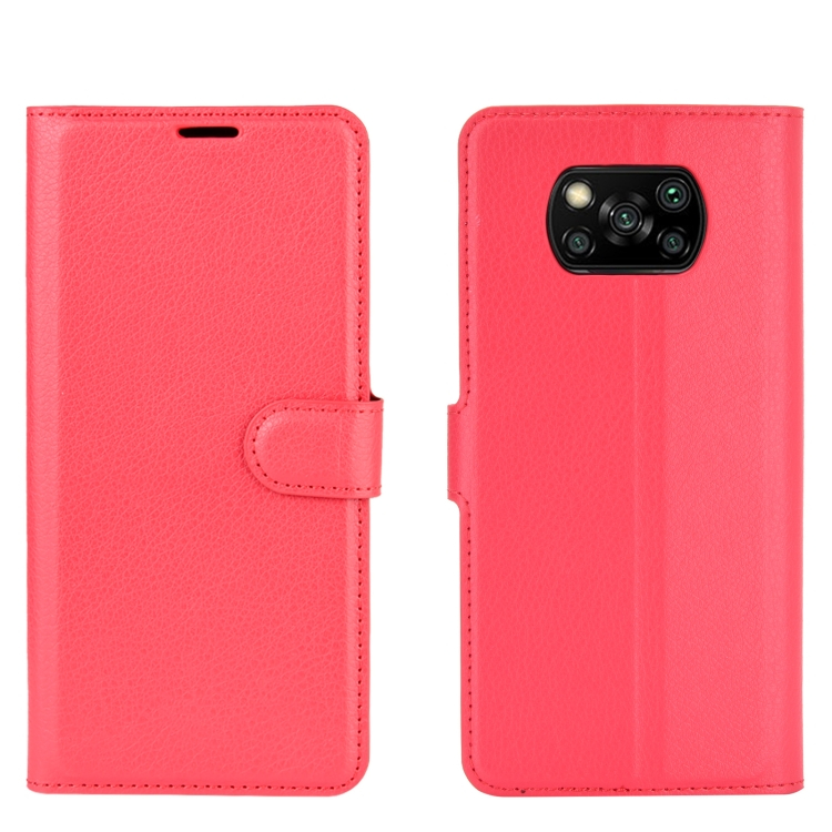 FORCELL LITCHI Peňaženkový kryt Xiaomi Poco X3 NFC červený