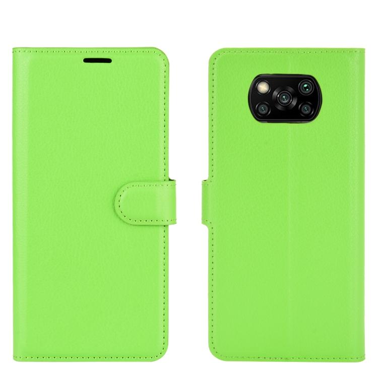 FORCELL LITCHI Peňaženkový kryt Xiaomi Poco X3 NFC zelený