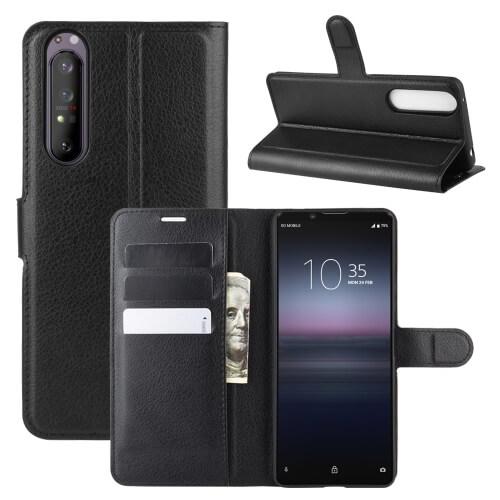 FORCELL LITCHI Peňaženkový kryt Sony Xperia 1 II černý