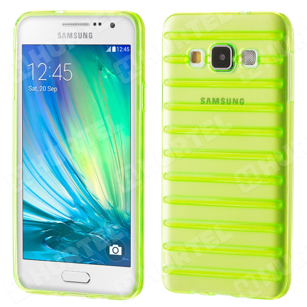 FORCELL STRIPES Silikónový kryt Samsung Galaxy A3 2015 (A300) zelený