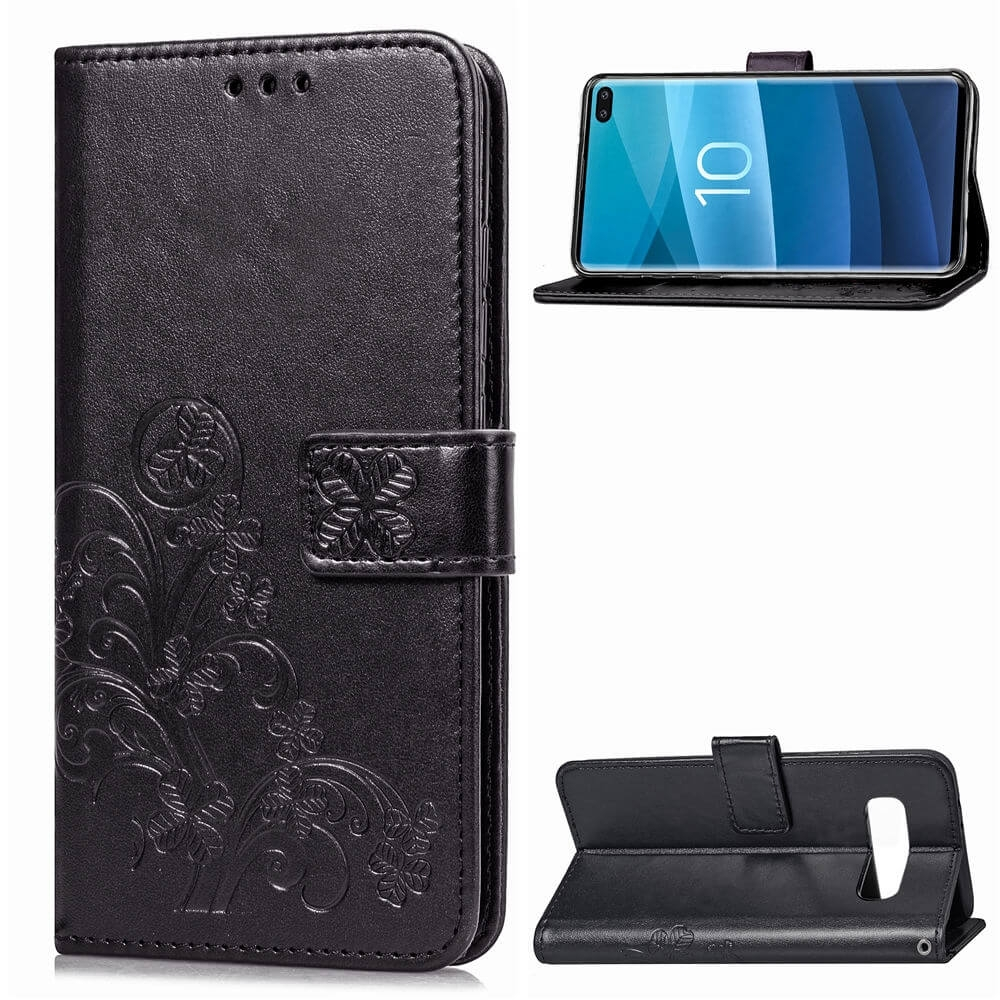 FORCELL ART Peňaženkový obal Samsung Galaxy S10 Plus FLOWER černý