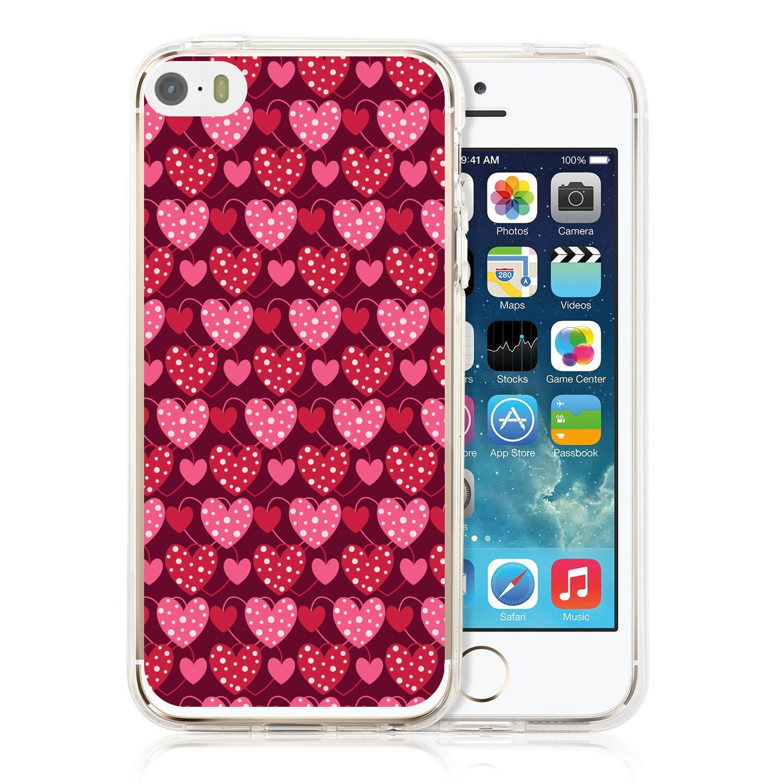 MY ART kryt Apple iPhone 5 / 5S / SE RED HEARTS (027)