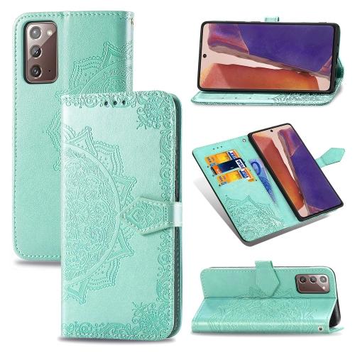 FORCELL ART Peňaženkový kryt Samsung Galaxy Note 20 ORNAMENT zelený