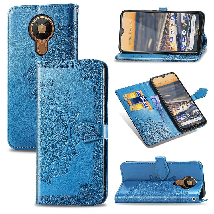 FORCELL ART Peňaženkový kryt Nokia 5.3 ORNAMENT modrý