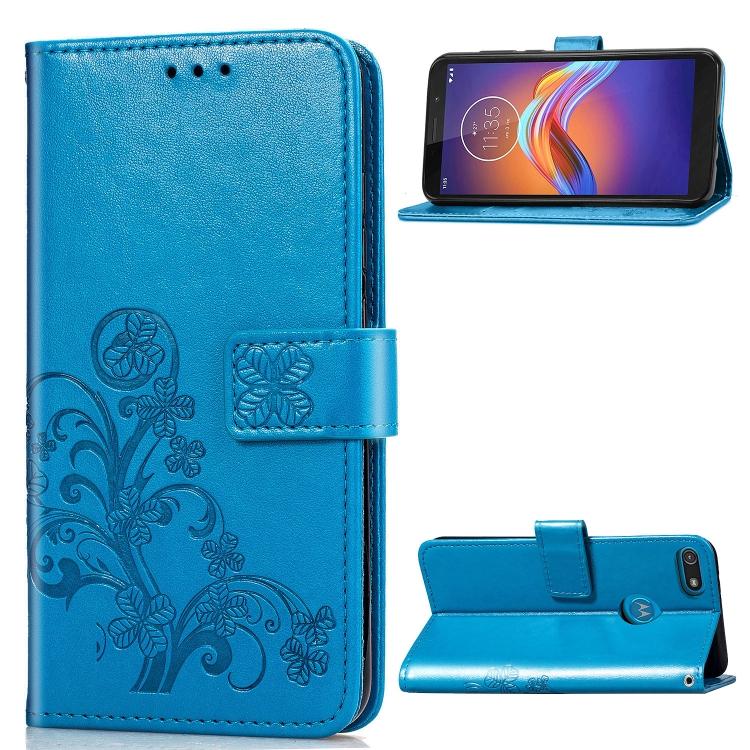 FORCELL ART Peňaženkový kryt Motorola Moto E6 Play FLOWERS modrý