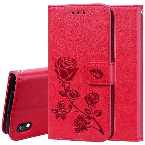 FORCELL ART Peňaženkový obal Huawei Y5 2019 FLOWERS červený